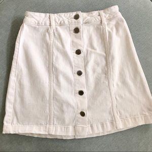 H&M White Stretch Denim Button Up Skirt